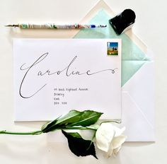 Whimsical Modern Calligraphy Handwritten Envelopes by emmahcalligraphy on Etsy