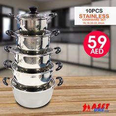 Cookware Range & Kitchen Tools ➤ Checkout @ Aset-uae.com  Tel ☎️ : 045576800 ➜ WhatsApp 📱: 0551045757  WWW.ASET-UAE.COM #asetuae #flashsale #bundleoffers #dubai #uae Cookware Set, Dubai Uae, Kitchen Tools, Range, Stainless Steel, Daily Deals, Diy Kitchen Appliances, Kitchen Gadgets, Cookers