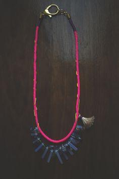Handmade tassel necklace. -Quartz -Amethyst