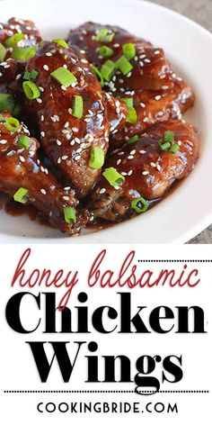 Honey Balsamic Chicken Wings These yummy, finger-licking oven baked chicken wings get their sticky sweet flavor from a mix of honey, balsamic vinegar, and soy sauce. Chicken Wing Sauces, Baked Chicken Wings, Chicken Wing Recipes, Soy Chicken, Chicken Meals, Chicken Soup, Chicken Appetizers, Appetizer Recipes, Dinner Recipes