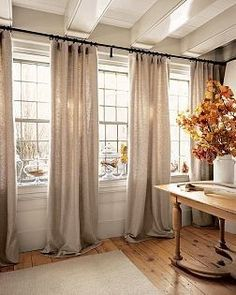 DIY curtains from bed sheets - This might be a good look for the living and dining room windows. Multi-windows and curtains between. Diy Curtains, Long Curtains, Large Window Curtains, White Curtains, Curtains To The Ceiling, Curtains For Double Windows, Curtains For Patio Doors, Curtains Sliding Glass Door, Curtains In Living Room