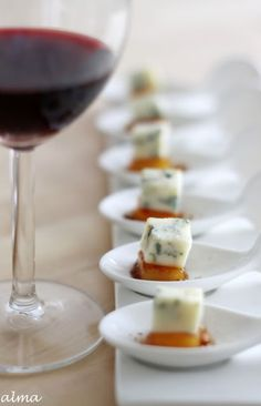Cheese squares appetizers. These would be great to pass around the bus during the wine tour!