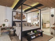 Casapronta Quartos   Quarto de praia por D TREND arquitetura  dtrend cama Saint Tropez criado Slim banco Paramount