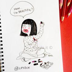 Monila handmade,illustration,illustrazione,i ghirigori di Monila ,rossetto,lipstick