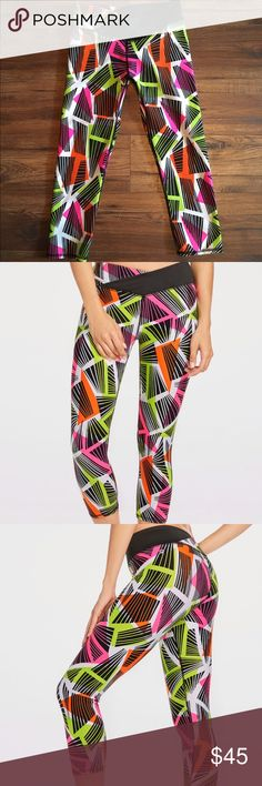 Fabletics colorful leggings Fabletics Winn Midrise Capri in NEW Tribal Geo Print! I only wore these once & they are in perfect condition! Bright vibrant colors will surely catch that hottie's eye at the gym!  Fabletics Pants Leggings
