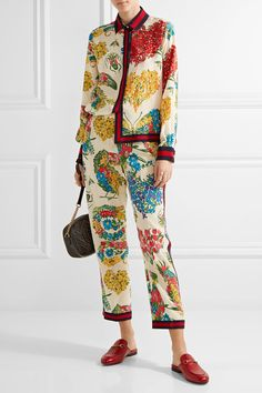 Gucci - Grosgrain-trimmed Printed Silk Crepe De Chine Straight-leg Pants - Ivory - IT36