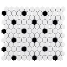 Merola Tile Metro Hex Glossy White with Black Dot 10-1/4 in. x 11-3/4 in. x 5 mm Porcelain Mosaic Tile (8.56 sq. ft. / case), Glossy Black and White /