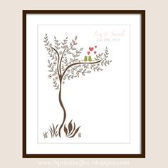 Love Birds in a Tree  Perfect Wedding Engagement. 8x10 print.