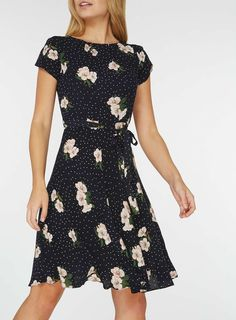 **Billie & Blossom Navy Floral Print Fit and Flare Dress - View All Dresses - Dresses - Dorothy Perkins