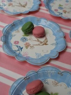 Vintage Floral Swallow Plates