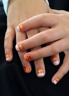 Super cute Halloween nails!! Jacks and Corns Jamberry nail wraps Get them at joyw.jamberrynails.net