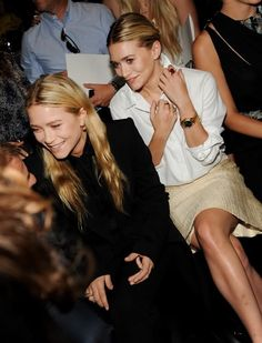 Mary-Kate and Ashley Olsen at a J. Mendel show. #style #fashion #olsentwins