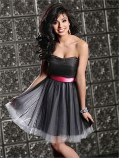 A-line Strapless with Ribbon Zipper Short Prom Dress PD11183 www.dresseshouse.co.uk $80.0000
