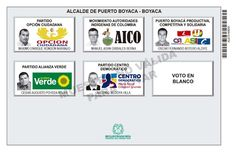 Tarjetón de elección para Alcalde de Puerto Boyacá