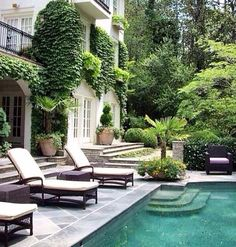 Natural Pool Ideas On Home Backyard Backyard and patio design ideas and inspiration Dream Home Design, My Dream Home, House Design, Patio Design, Garden Design, Kleiner Pool Design, Small Pool Design, Dream House Exterior, Small Backyard Pools