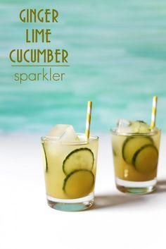 Sunset Happy Hour Cocktails - ginger lime cucumber sparkler