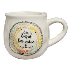 Natural Life 'Cup Of Sunshine' Ceramic Coffee Mug ($17) ❤ liked on Polyvore featuring home, kitchen & dining, drinkware, cup, fillers, ivory, hot beverage cups, ceramic coffee mugs, ceramic cups and hot coffee mug