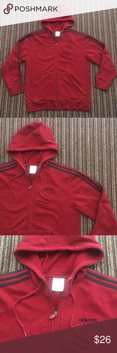 Adidas Full Zip Burgundy Sweater Spell Out Logo M Men's Size Medium Zip Hoodie. Embroidered Adidas Logo On Back. Burgundy with Black Stripes. Light Fade On Black Stripes. No Holes Or Rips.   T7 adidas Sweaters