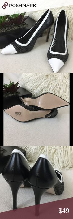 """Zara BRAND NEW Black/White leather heels Zara BRAND NEW Black/White leather lattice style heels. Such a classic shoe with a unique style. States size 39 would fit big size 8.5 to a small 9. Heel height just under 4""""   Wonderful condition never worn Zara Shoes Heels"""