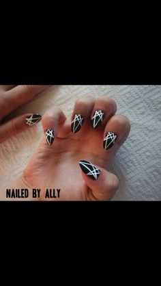 black and white geometric nail design