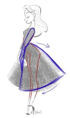 Elsa Chang ‏@ElsaSketch - Took some suggestions and did a 2nd draw over. Tilted the skirt, hid a part of the hand behind the front of the skirt