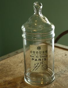 Put candy in me.  Apothecary jar, french inspired label from TheShabbyChicCottage, Etsy