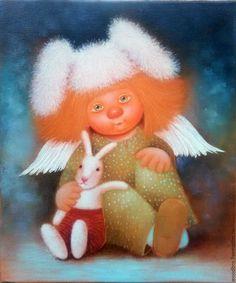 Купить Зайка - картина маслом - зайка, солнечный ангел, картина маслом, картина в подарок