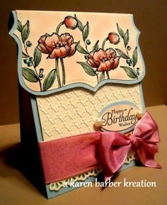 - by Karen B Barber - Cards and Paper Crafts at Splitcoaststampers Fancy Fold Cards, Folded Cards, Card Making Inspiration, Making Ideas, Poppy Cards, Card Sketches, Copics, Cool Cards, Creative Cards