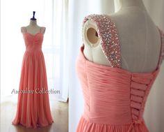 Coral Chiffon Beaded Cap Sleeves Bridesmaid Dress Long Chiffon Sweetheart Corset Dress on Etsy, $119.00