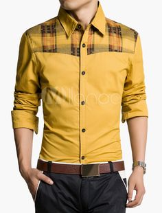 Plaid Panel Shirt with Long Sleeves in Slim Fit
