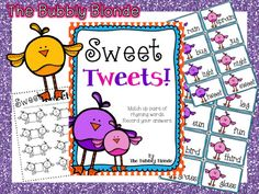 The Bubbly Blonde: Freebie Day #1~Sweet Tweets Rhyming Word Practice