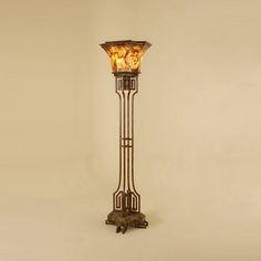 Tortoise Finish Iron Torchere Floor Lamp, Gold Agate Stone - 1851-498