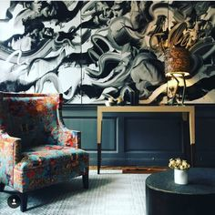 Artist Interview With Tom French: A Man with a Dynamic Expression of Beauty in a Modern Age It's hard to. Corner Reading Nooks, London Design Week, Dark Interiors, Top Interior Designers, Wingback Chair, Accent Chairs, Toms, French, Furniture