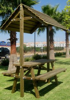 conjunto mesa madera asientos tejado jardin