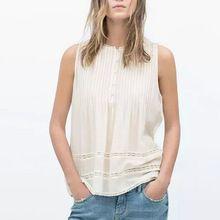 Verão mulheres branco blusas plissado O pescoço sem mangas casual tops da marca slim WT95(China (Mainland))