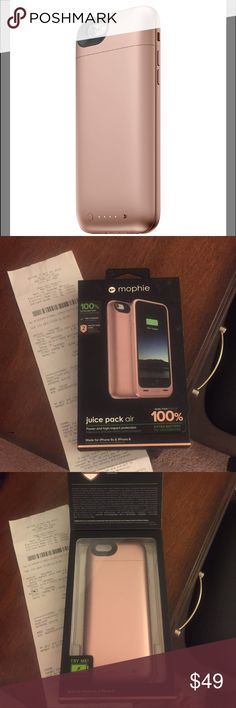 Rose Gold Mophie Case - iPhone 6s 100% Extra Battery, Mophie case for iPhone 6 & 6s. Bought in July from Best Buy, Includes charger case and charging USB cord. No longer need b/c I bought 6 plus. mophie Other