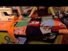 How to Sew a T-Shirt Quilt.....best video tutorial with Cathie and Steve from Creative Juice.  Use a BALL POINT needle when sewing with knit fabrics.