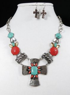 COWGIRL bling Gypsy CROSS Native Turquoise Silver Boho Western Necklace set our prices are WAY BELOW RETAIL! all JEWELRY SHIPS FREE! www.baharanchwesternwear.com baha ranch western wear ebay seller id soloedition