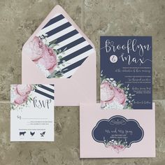 Navy Blue Gold and Blush Pocket Wedding InvitationSimply Glamorous