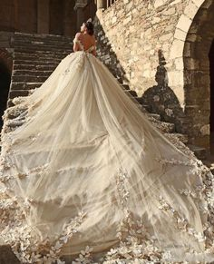 2017 Ball Gown Wedding Dresses Off Shoulder Cap Sleeves Lace Applique Beads Flowers Illusion V Back Puffy Cathedral Train Bridal Gowns Wedding Dress Cinderella, Princess Wedding Dresses, Dream Wedding Dresses, Wedding Gowns, Extravagant Wedding Dresses, Lace Wedding, Wedding Dress Cathedral Train, Wedding Dress Train, Wedding Dress Shopping