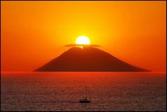 Sunset on the island of Stromboli Volcano, Italy  Eolian Islands  http://www.travelandtransitions.com/our-travel-blog/sicily-2007/