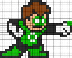 Green Lantern Perler Bead Pattern bead pattern could be used as a cross stitch patern