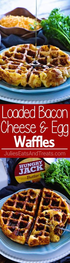 Loaded Egg Bacon Cheese Waffles ~ The Ultimate Sweet & Savory Waffle! Eat this Comfort Food for Breakfast or Dinner Whichever You'd Like! via (Baking Eggs Bacon) Savory Waffles, Pancakes And Bacon, Breakfast Waffles, Cheese Waffles, Breakfast Dishes, Eat Breakfast, Breakfast Recipes, Mexican Breakfast, Cheese Muffins