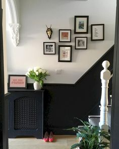 We're getting there finally. The radiator cover is painted and it's starting to feel a little more finished! Painted Radiator, Half Painted Walls, Hallway Paint, Hallway Flooring, Dado Rail Hallway, Edwardian Hallway, Edwardian Staircase, 1930s Hallway, Black Hallway