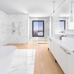 łazienka drewno i kamień Calacatta, Double Vanity, Bathroom, Washroom, Full Bath, Bath, Bathrooms, Double Sink Vanity