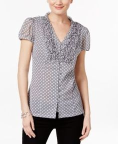 Inc International Concepts Ruffled Polka-Dot Blouse, Only at Macy's - Gray XS