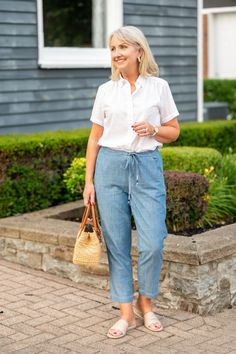 Chambray tie-waist pants for summer, Casual outfits, Summer nights, white tops, women's clothing, fashion Summer Outfits, Casual Outfits, Fashion Outfits, Summer Fashions, Wise Women, Alternative Outfits, Looking For Women, Chambray, Dress Pants