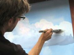 How to paint clouds technique – Mural Joe.I will try but I am pretty… - Painting Techniques Acrylic Painting Techniques, Painting Videos, Painting Lessons, Art Techniques, Art Lessons, Painting & Drawing, Watercolor Paintings, Painting Clouds, How To Paint Clouds