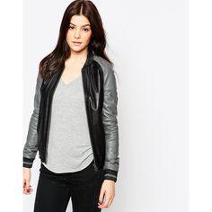 Muubaa Amato Bomber Jacket (453 CAD) ❤ liked on Polyvore featuring outerwear, jackets, greyblack, muubaa, white jacket, bomber jacket, blouson jacket and white bomber jacket