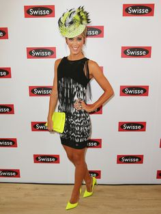 Bright yellow accessories punctuated Bec Hewitt's black and white dress.